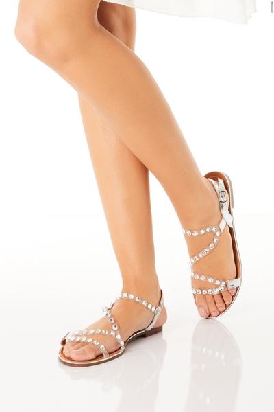 Silver Embellished Flat Sandals
